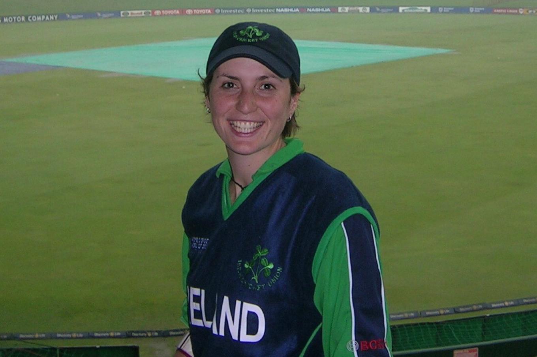 Emma Beamish playing cricket for Ireland