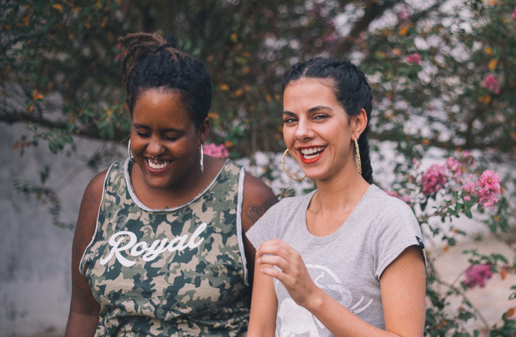 Two smiling women with catamenial epilepsy