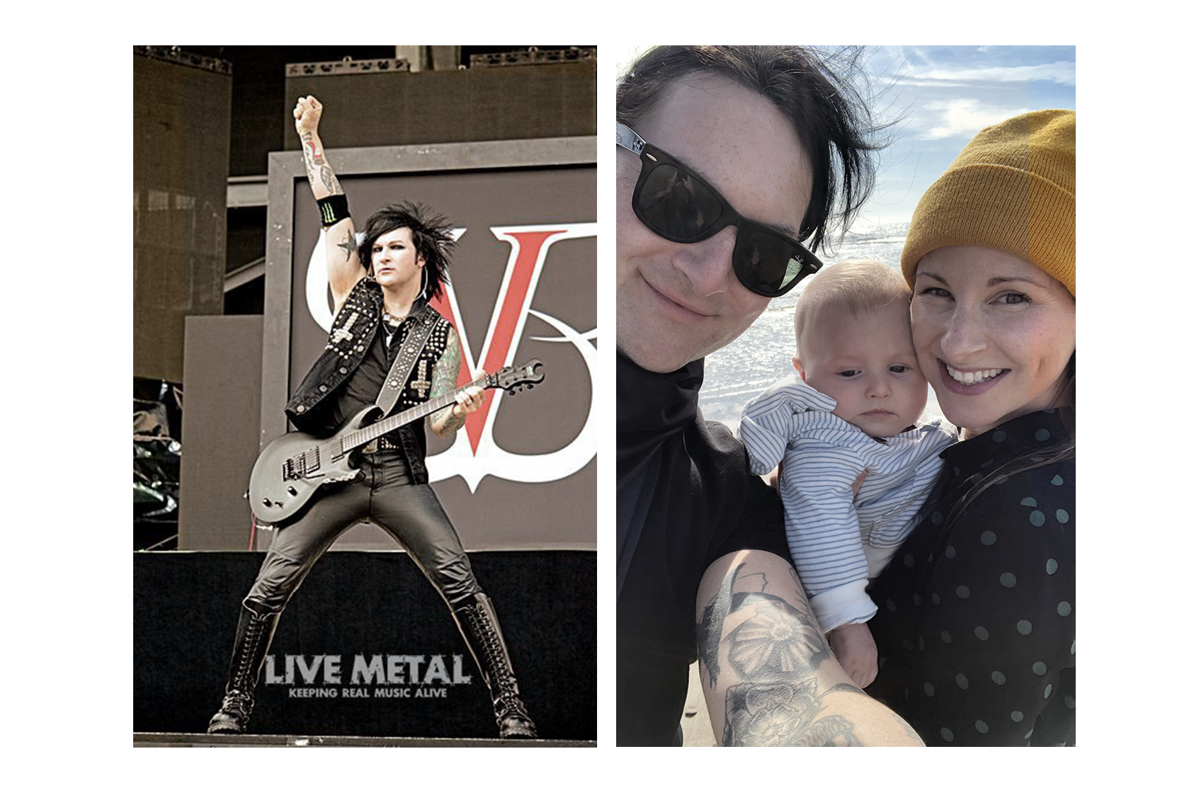 Jinxx performing on stage and with his wife & son, Lennon