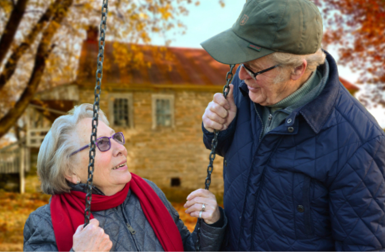 Elderly couple talk about epilepsy and Alzheimer's disease