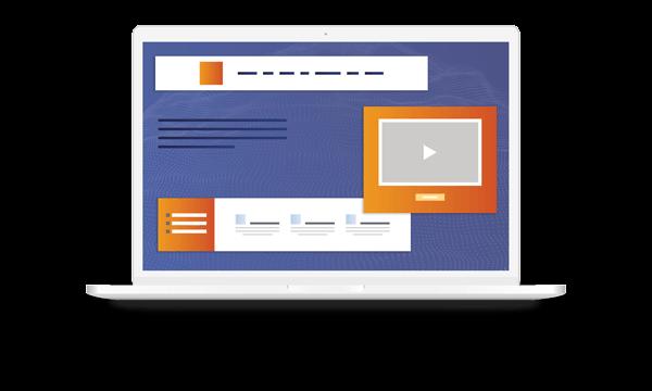 Laptop showing web modules