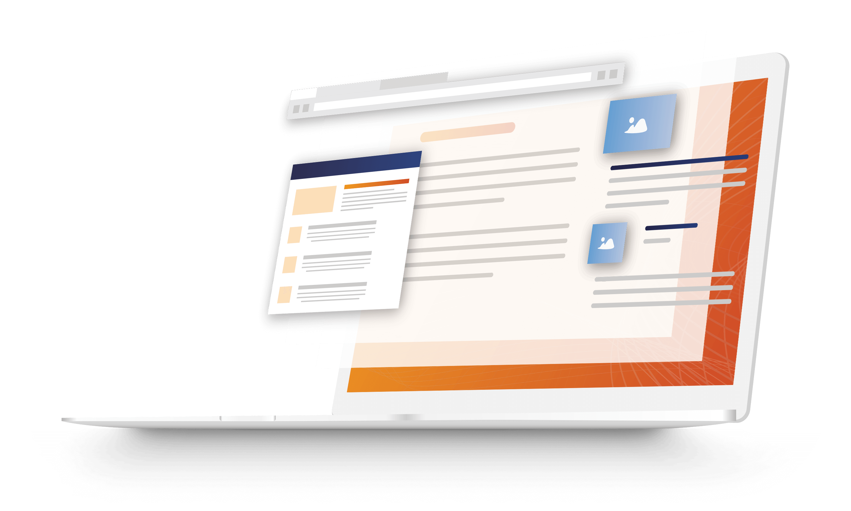 Laptop illustration showing web pages