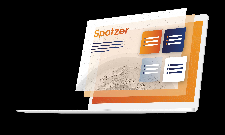 Laptop illustration showing Spotzer logo