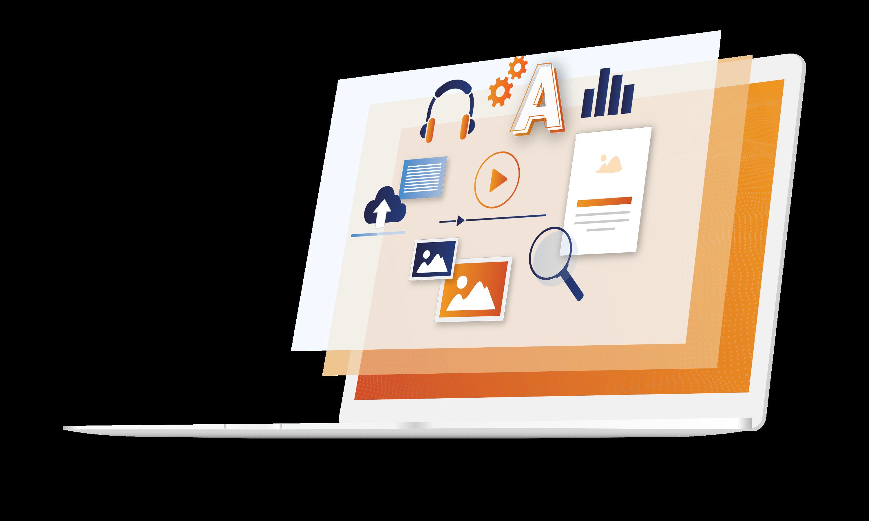 Laptop illustration showing web modules