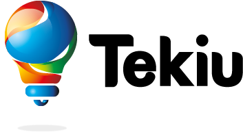 Tekiu company logo is a multicoloured lightbulb
