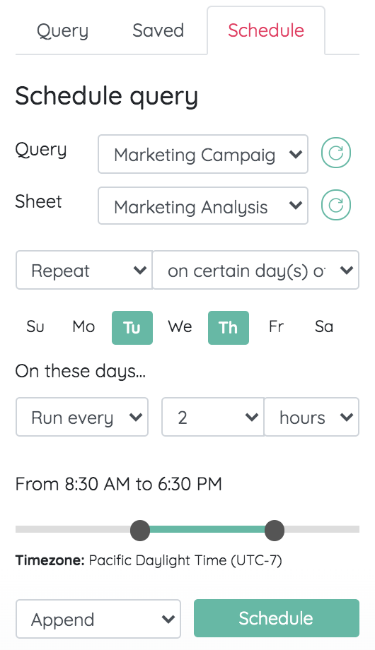 MySQL auto refresh schedule for email marketing