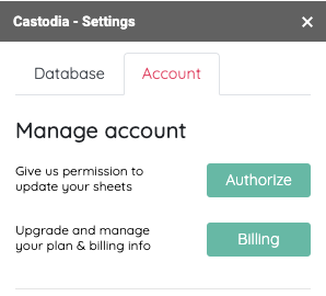 Castodia authorize account screen