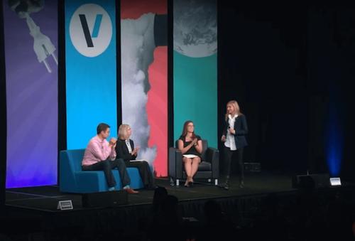 Photo of Alisa Keynes on stage at the Verge 2019