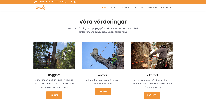Wasa trädfällning Värderingar