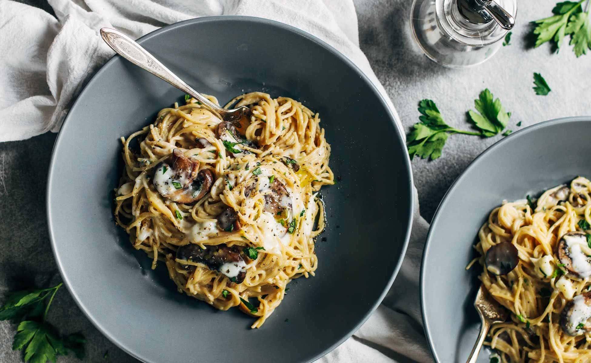 Espagueti con Pollo y Setas