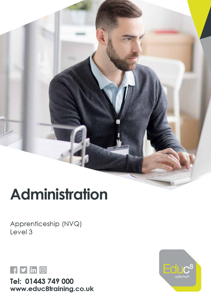 Administration Level 3 brochure cover. Featuring a young man working at a computer.