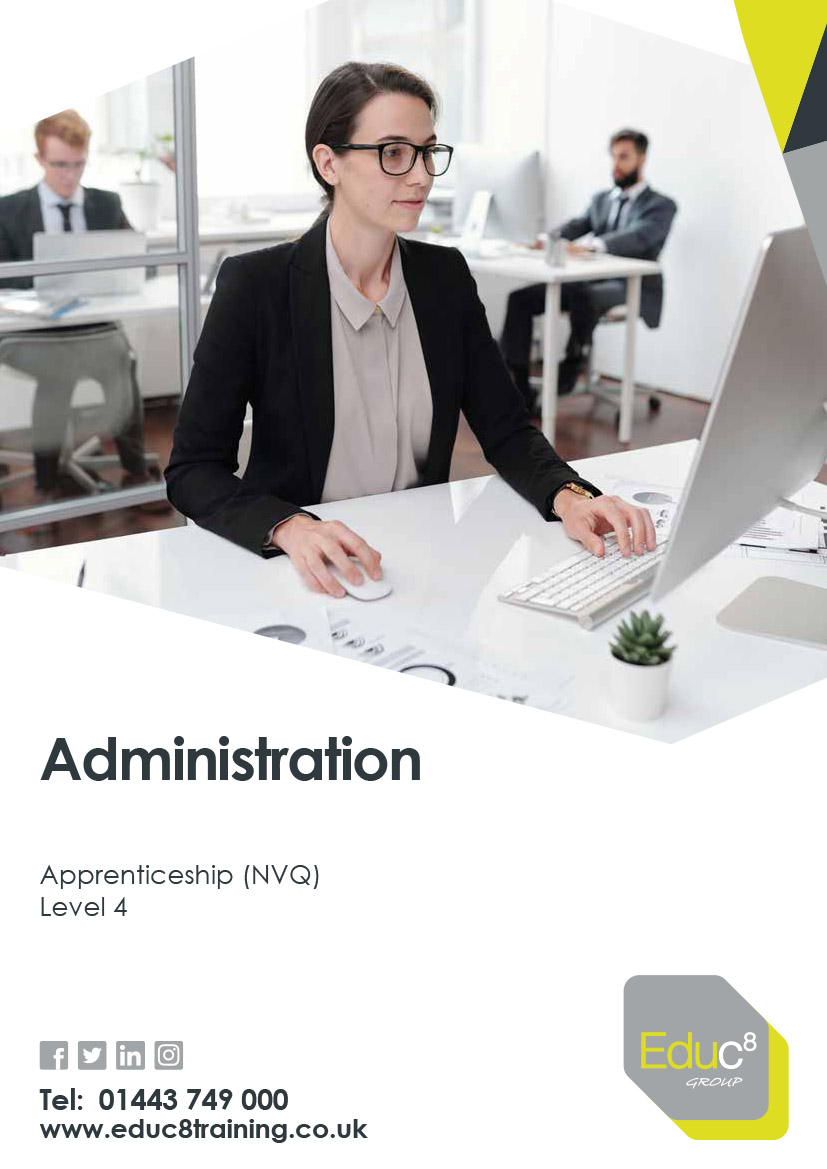 Administration Lveel 4 brochure cover. Featureing a young woman working on a computer at her desk