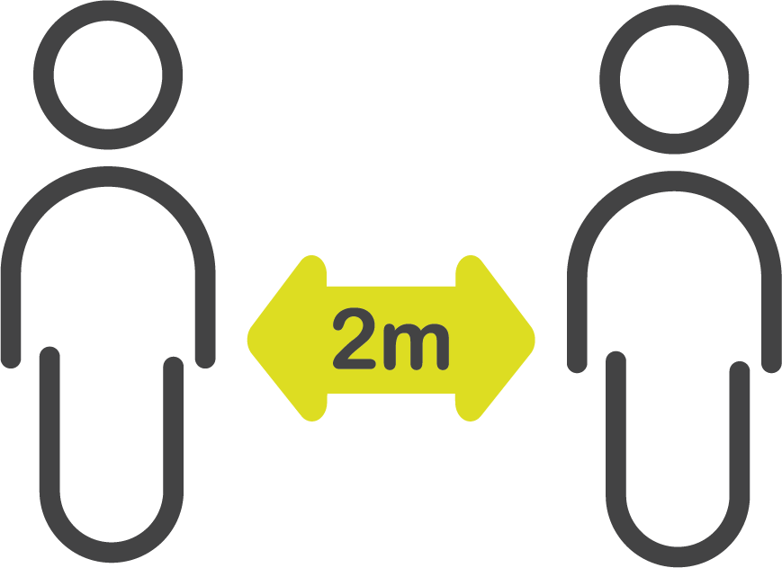 illustration. 2 characters 2 metres apart showing social distancing.