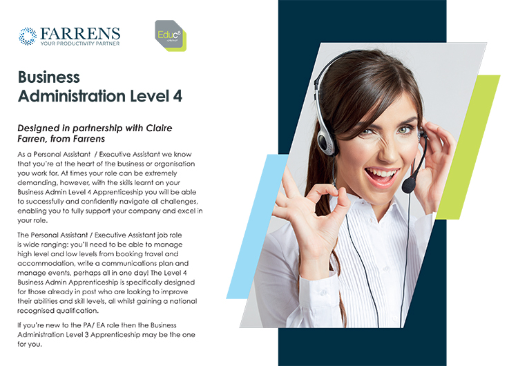 Farrens Business Administration Level 4 brochure cover image