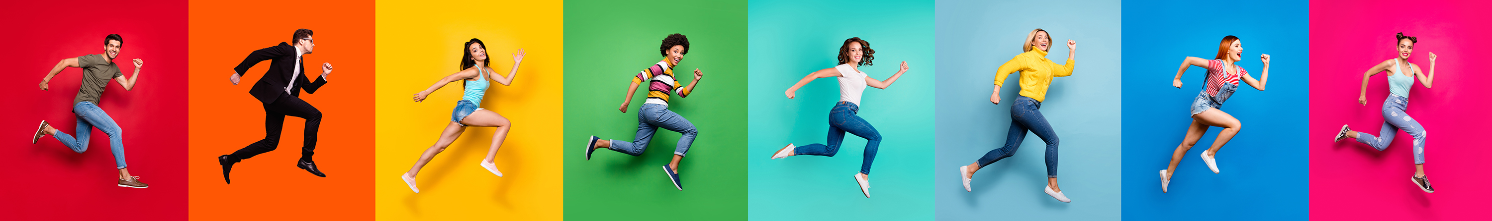 A colourful image showing 7 young people mid air as they run