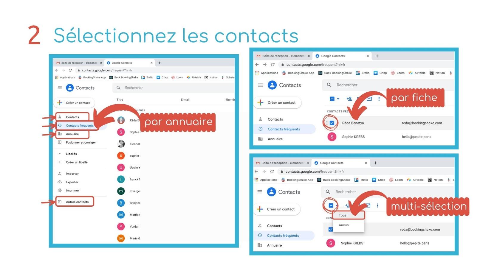sélectionnez contacts étape 2