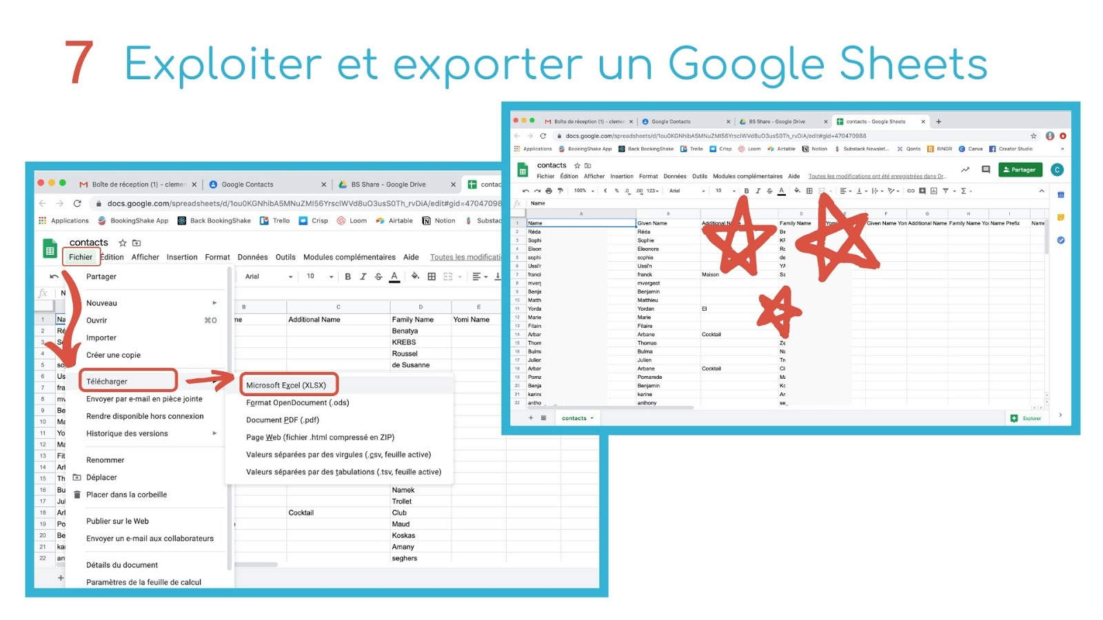 exporter google shhets