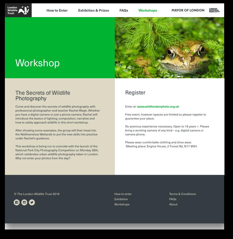 London Wildlife Trust workshop website page design