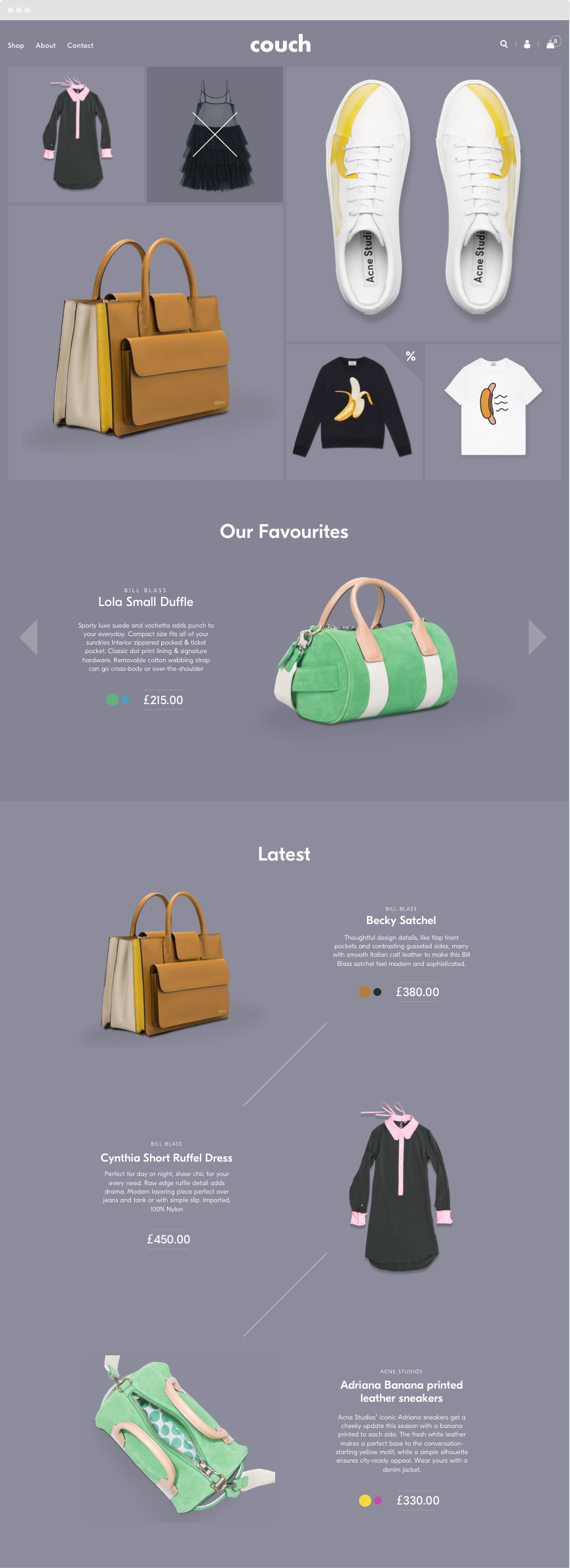 Shopify Theme Design - Fashion ecommerce site homepage