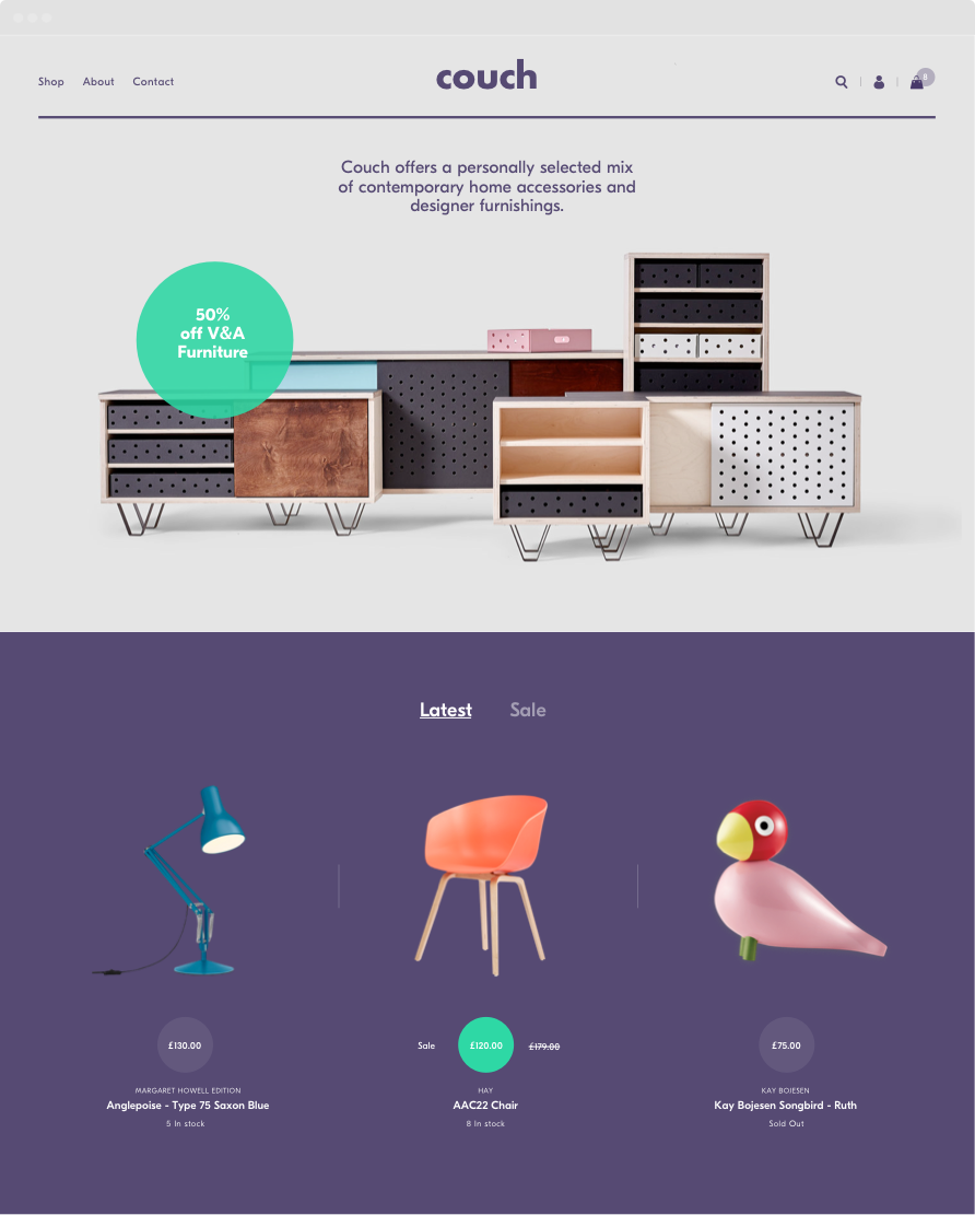 Shopify Theme Design - Interior Design Homepage