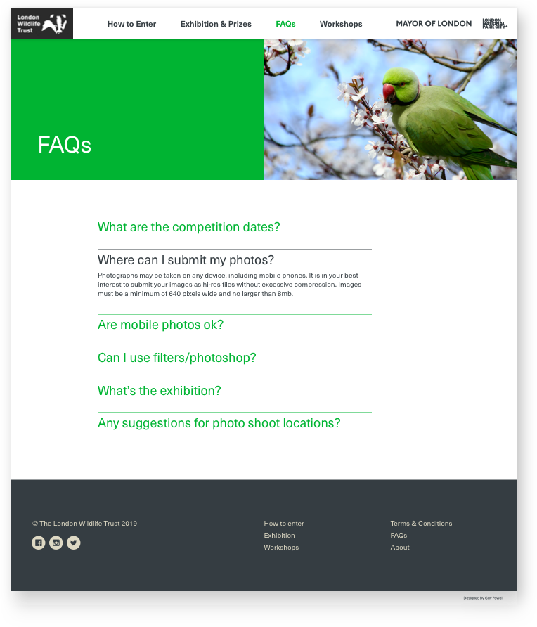 London Wildlife Trust FAQs website page design