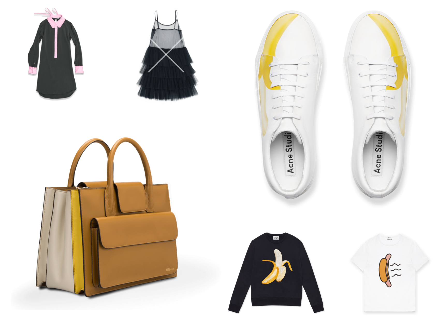 eCommerce website design detail - A grid of designer clothes, shoes and bags