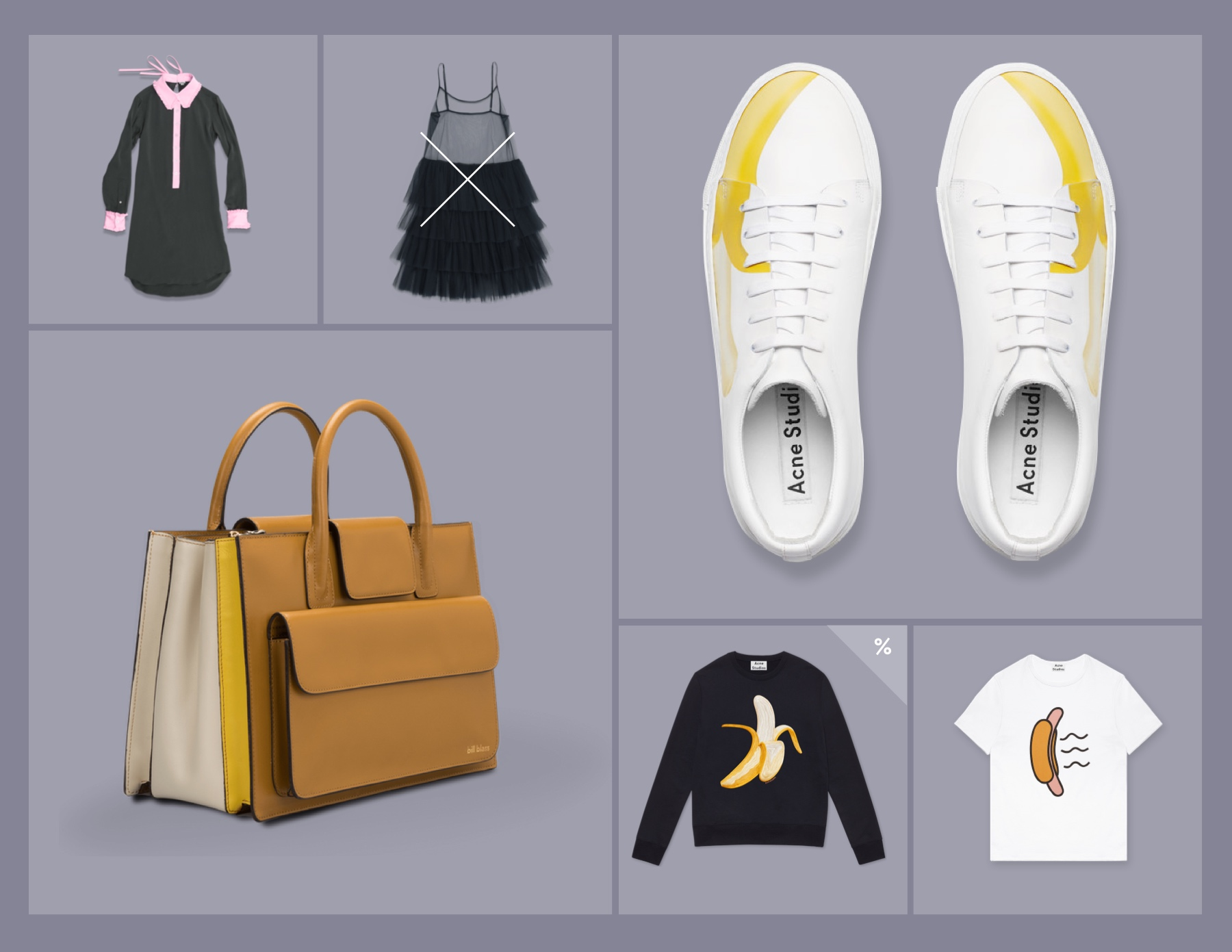 Shopify Theme Design - Shoes, Bag, Clothes displayed in a grid