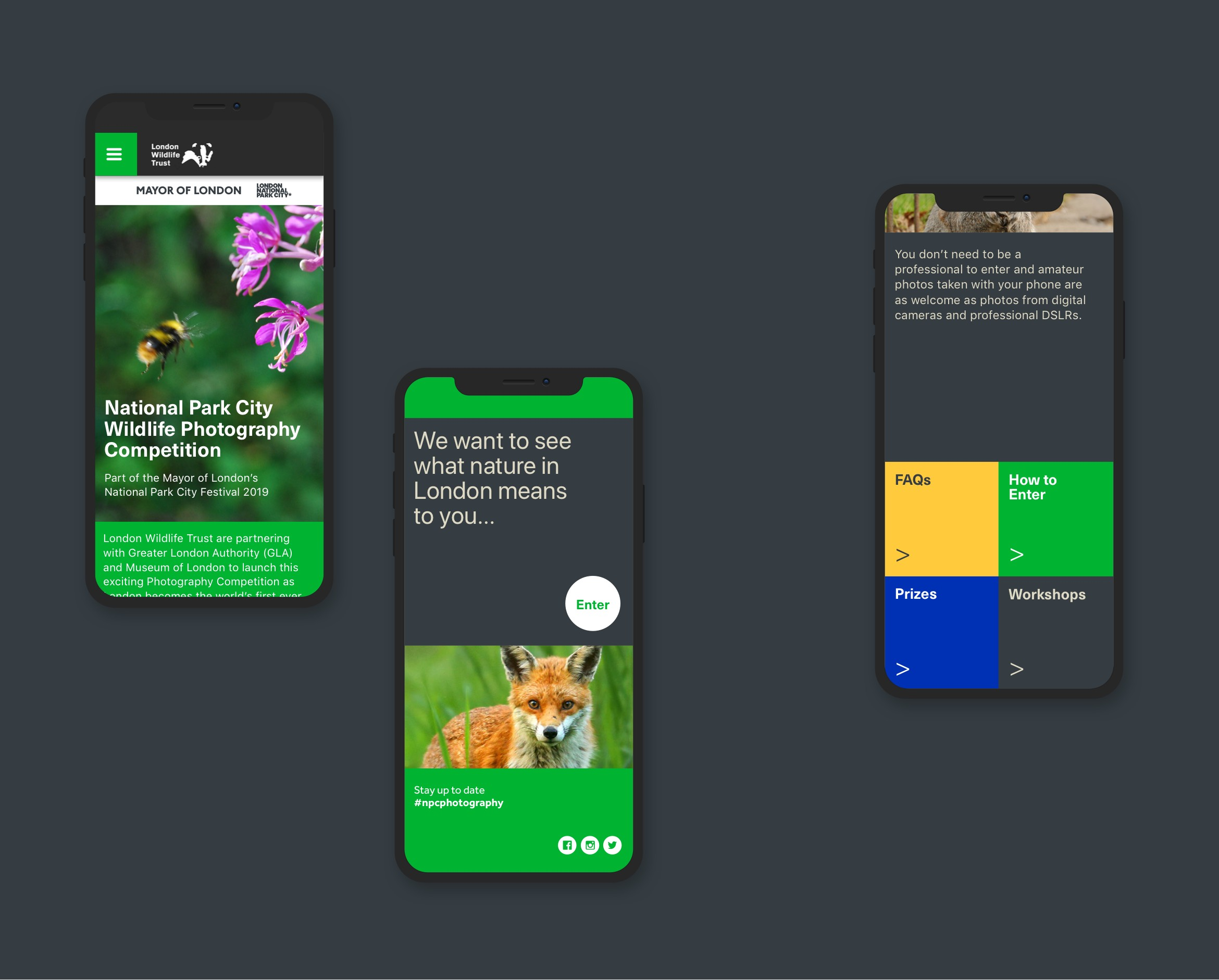 London Wildlife Trust website design displayed in three black mobile phones. Nature pictures and text