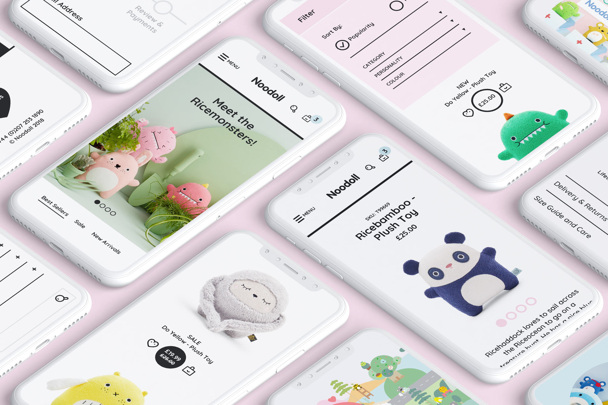 Noodoll eCommerce website design , Four Mopbile phones showing the home, product, cart pages and menu