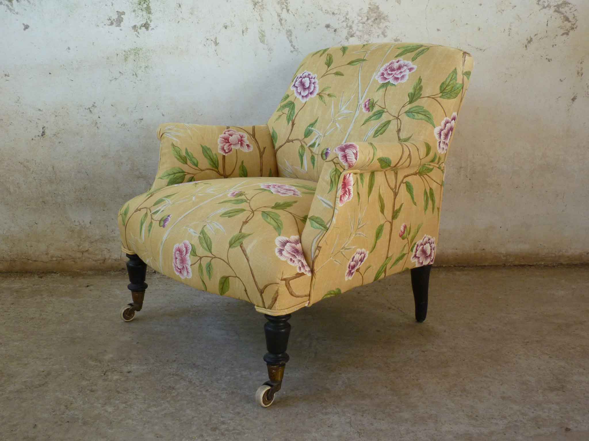 Victorian armchair with turned legs