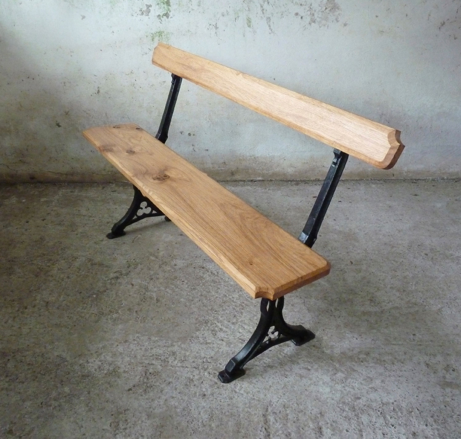 Gothic cast iron and oak bench