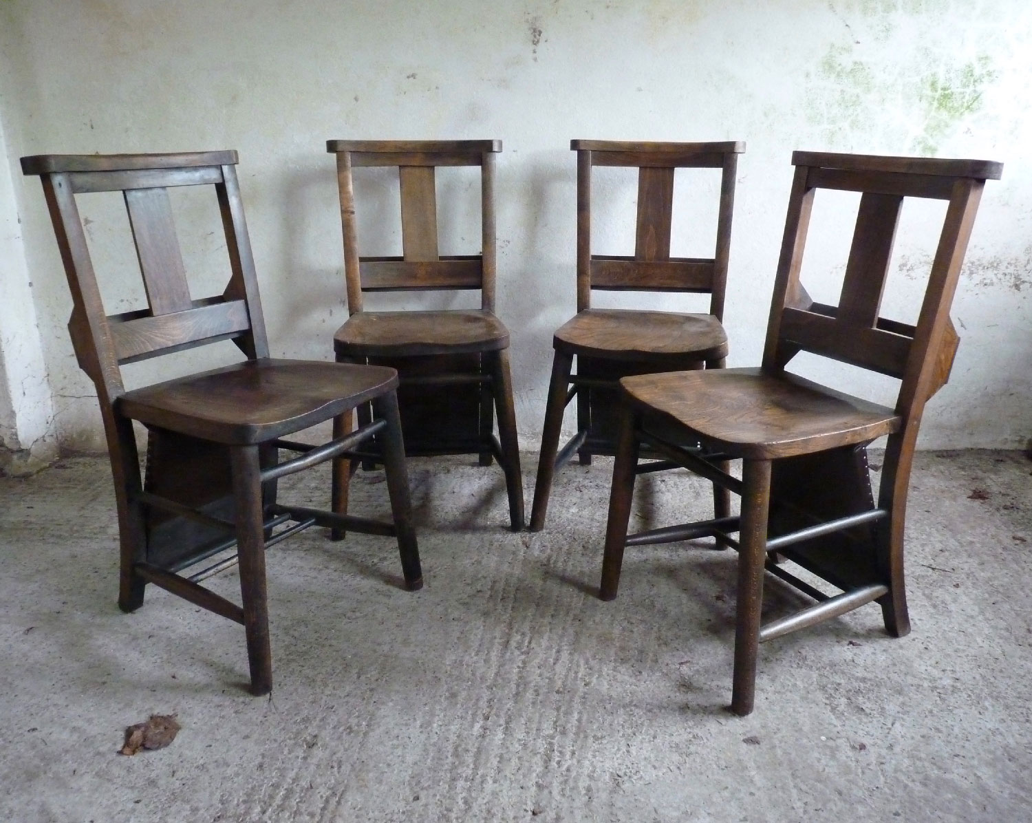 Set of four chapel chairs