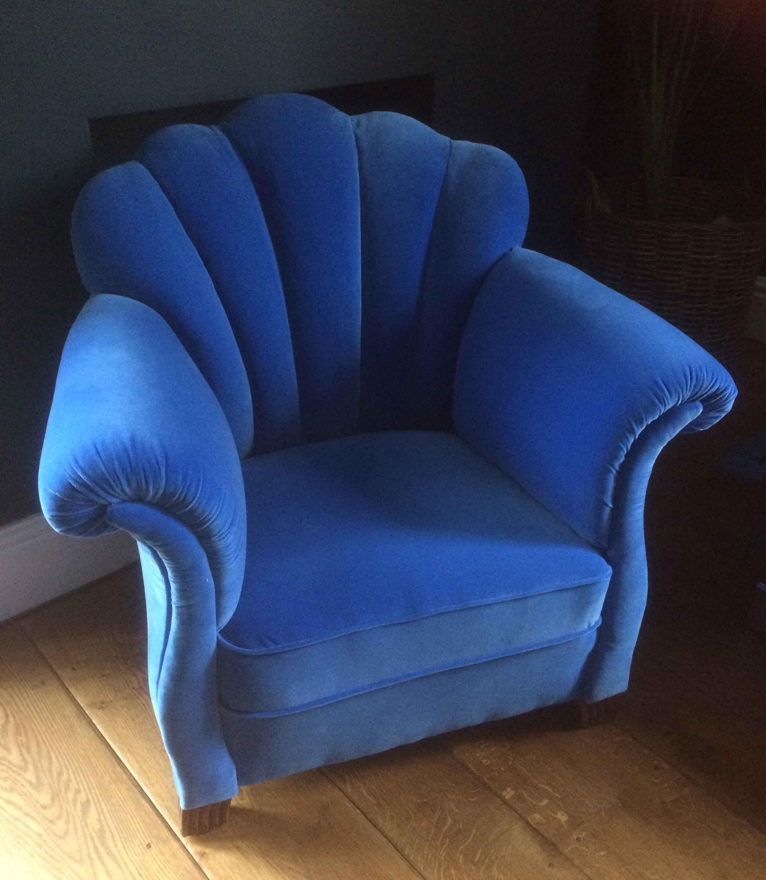 Art Deco shell back armchair upholstered in blue velvet
