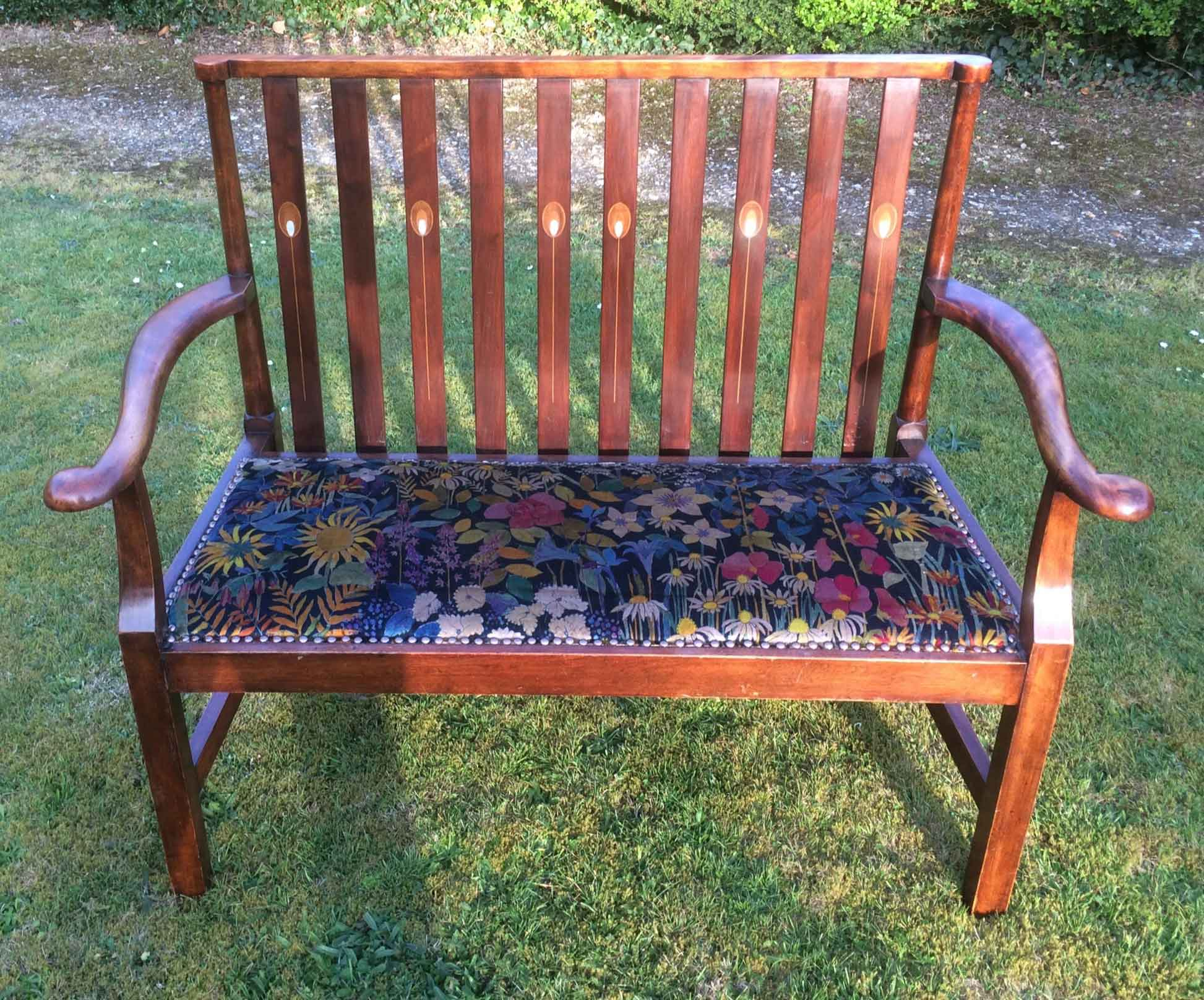 Edwardian arts and crafts settee upholstered in faria flower velvet by liberty
