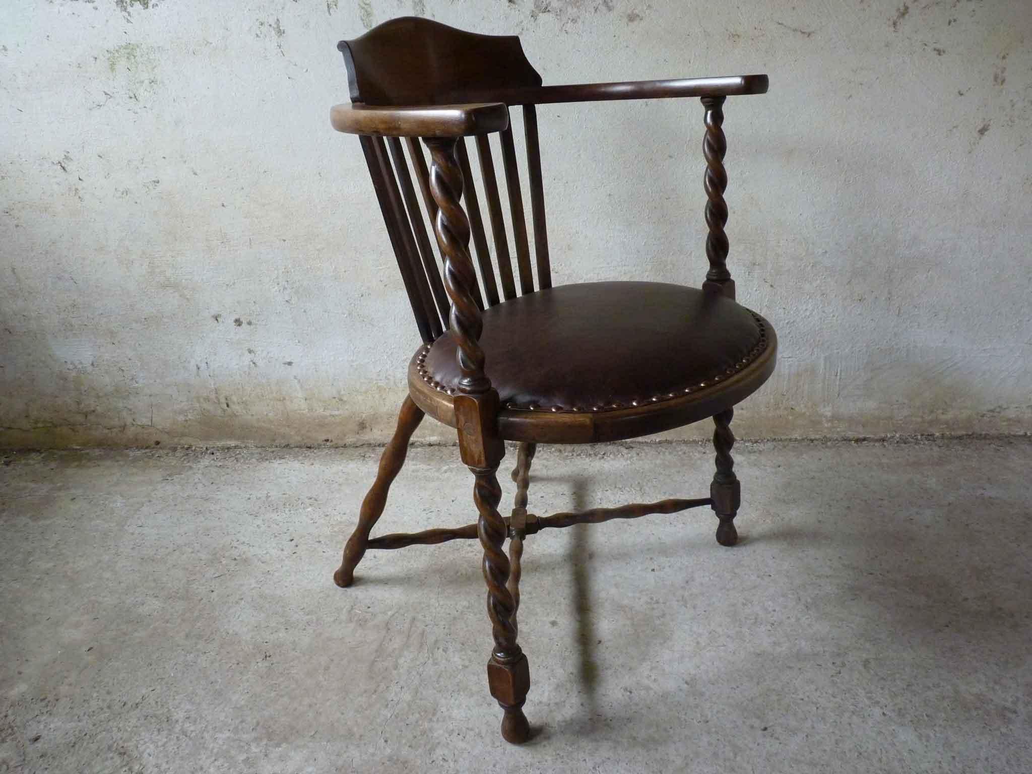 An unusually designed barley twist antique chair