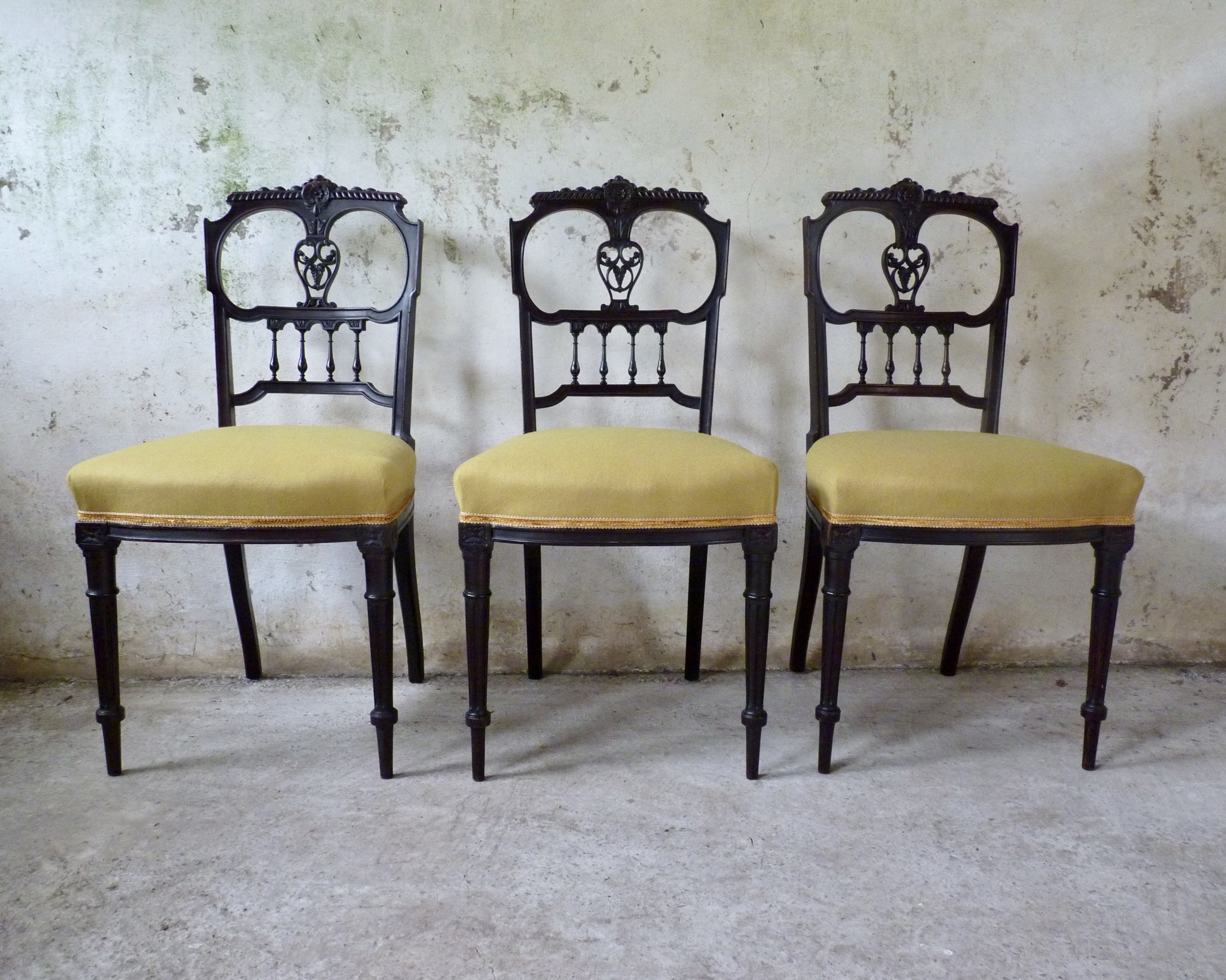 set of three victorian chairs