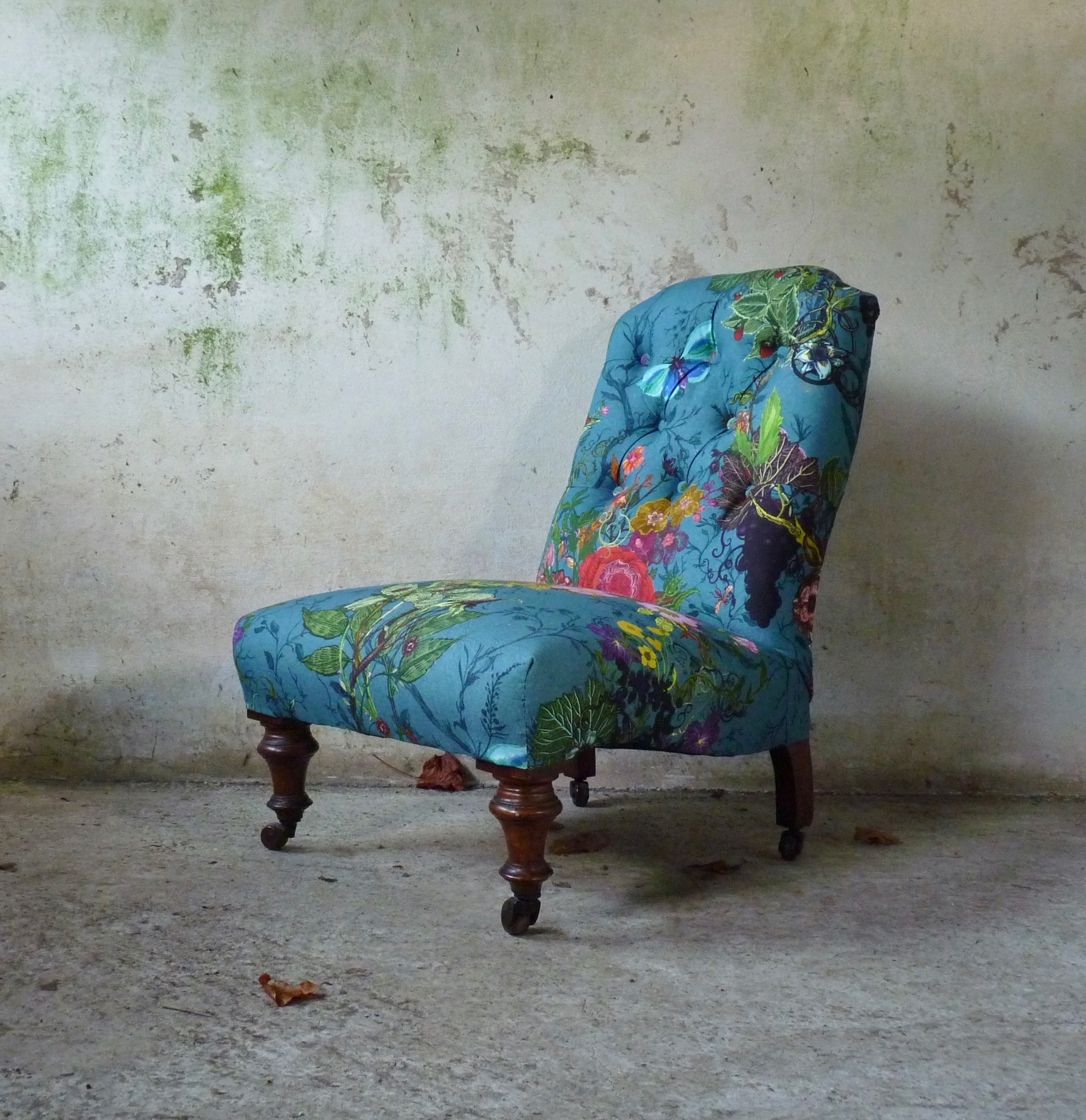 victorian slipper chair upholstered in timorous beasties fabric
