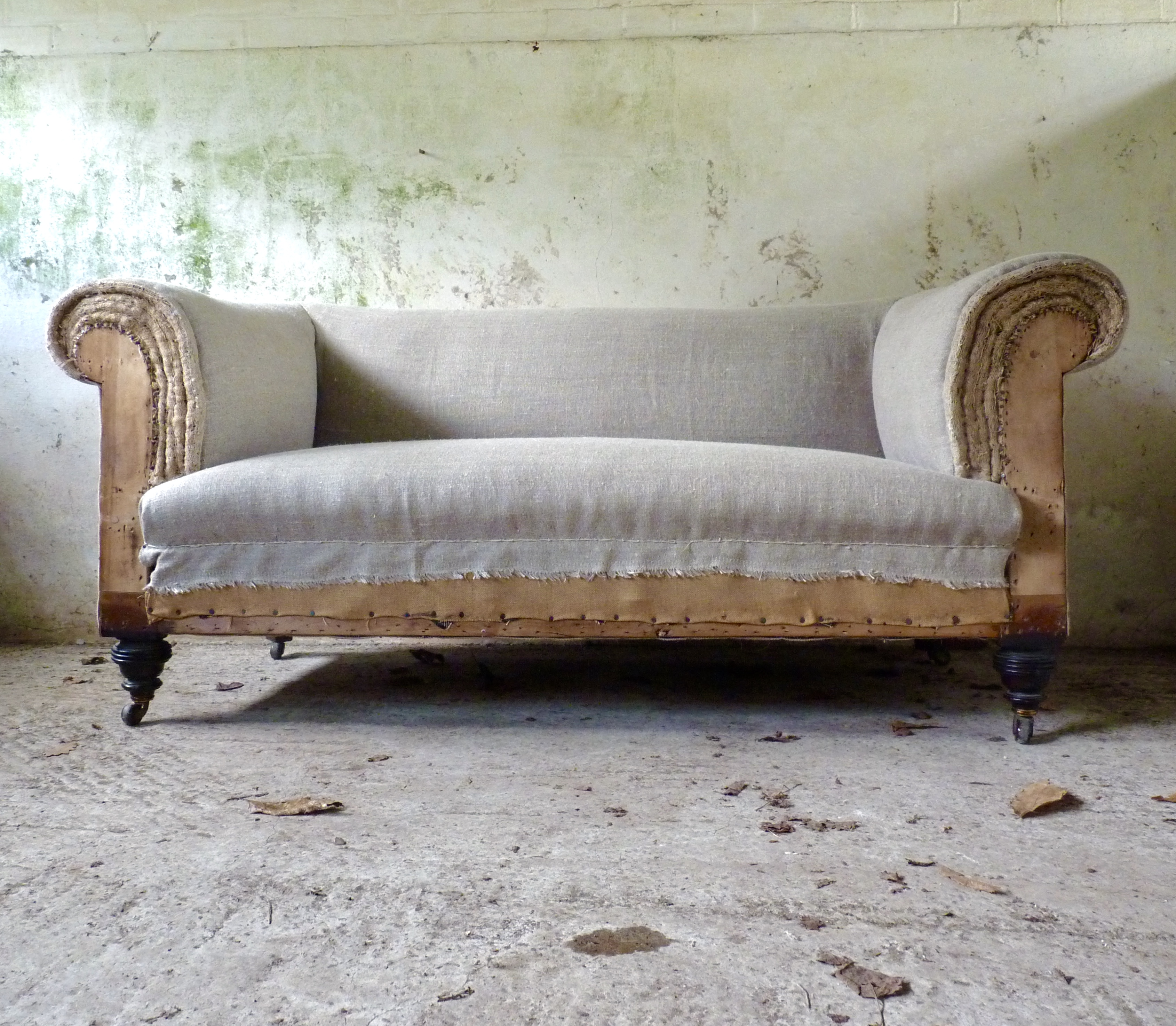 deconstructed two seater Chesterfield sofa