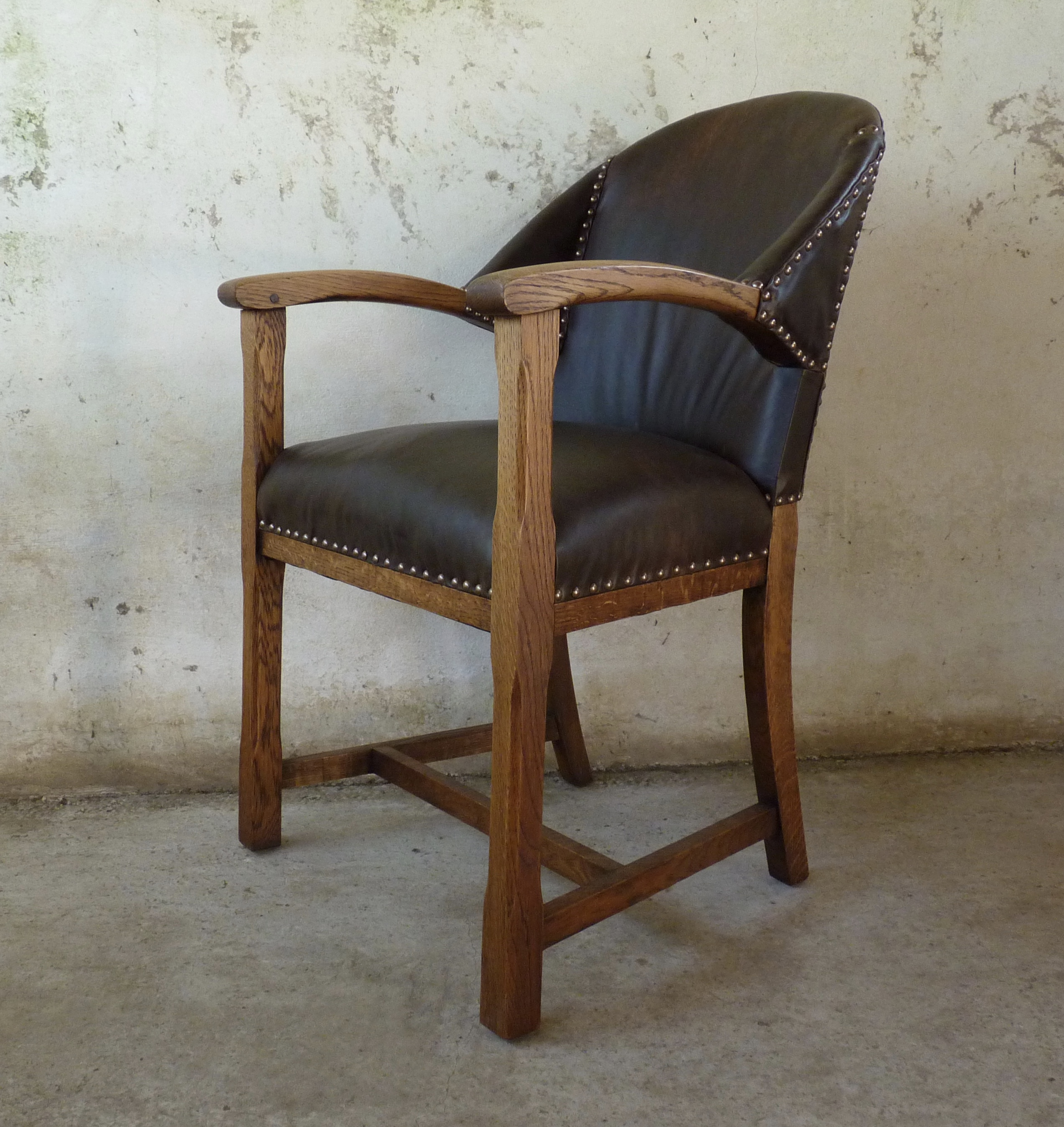 arts and crafts oak desk chair