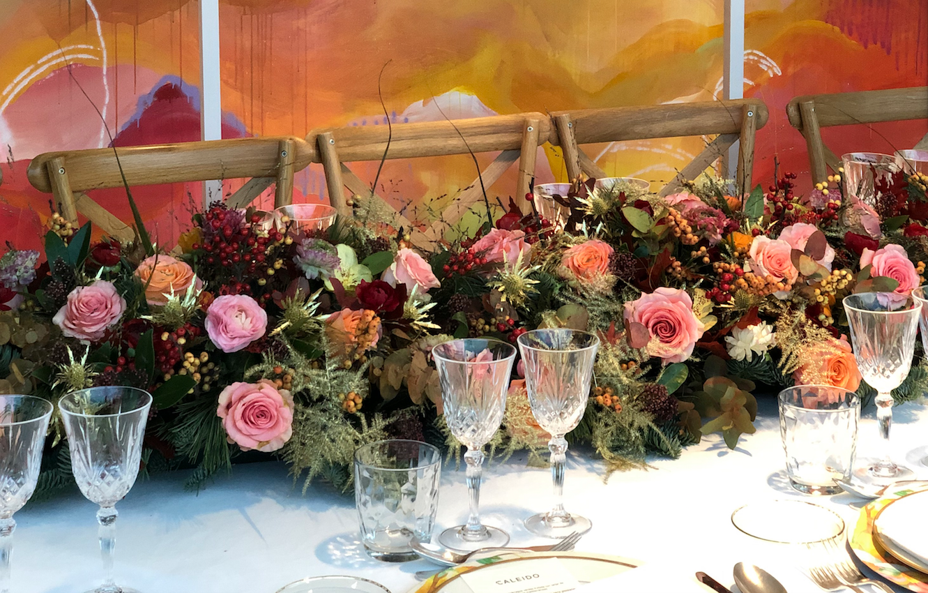 decoración floral mesa eventos fiëstas
