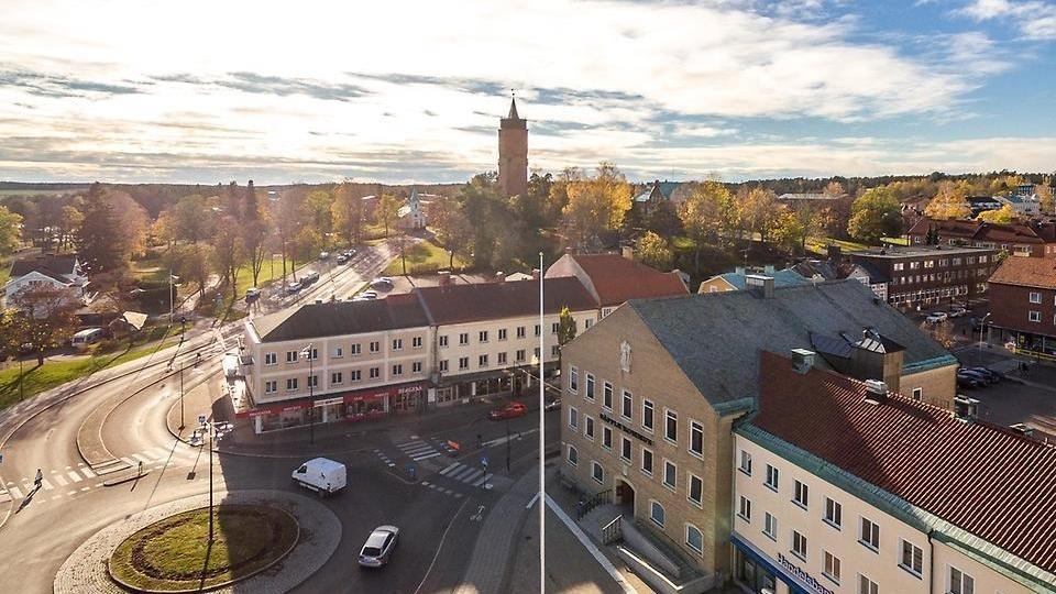 Drönarbild över Säffle innerstad