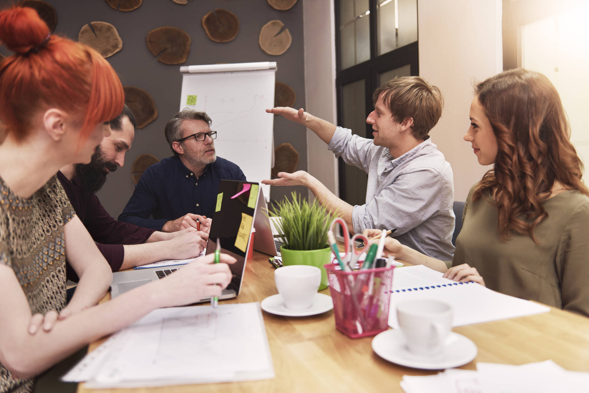 team working analyzing business' growth