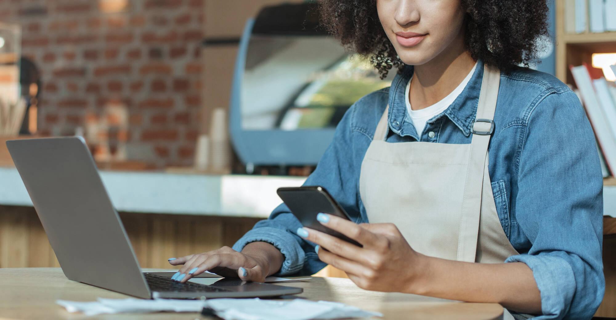 business owner managing brand online