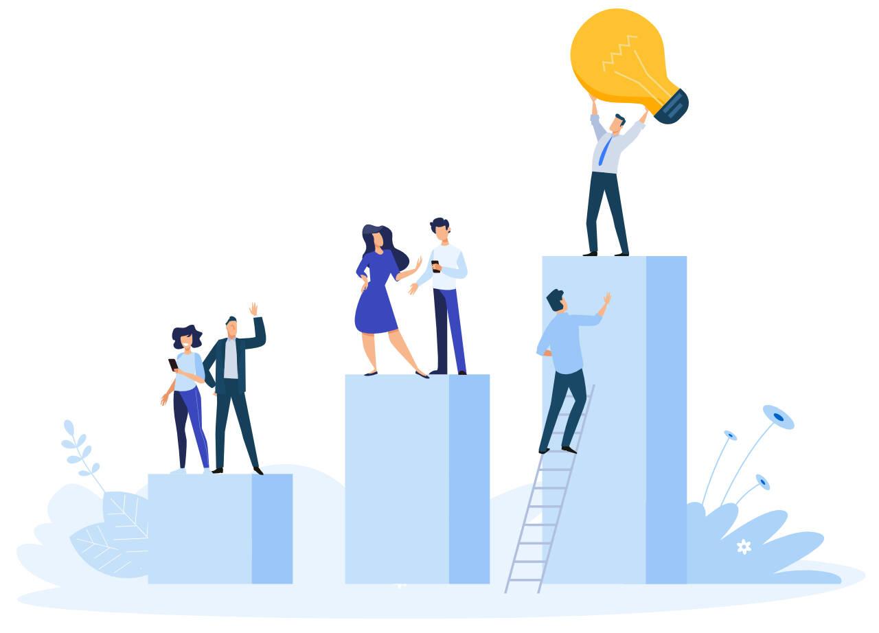 team working towards business success