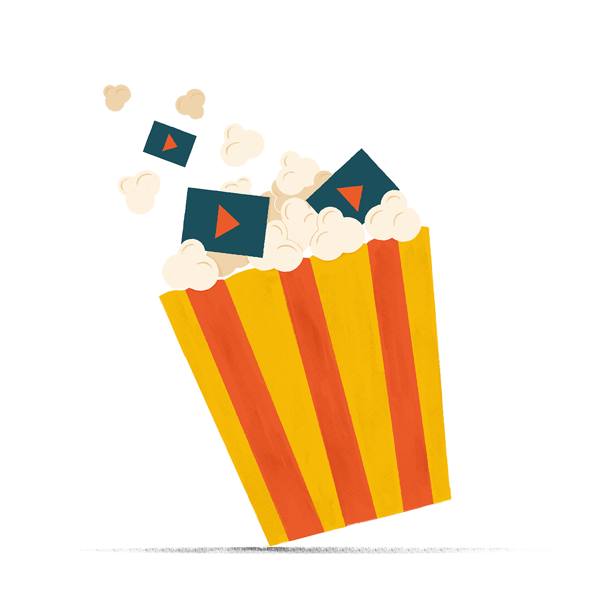 Tub of popcorn with video clips mixed in to represent the snackable and binge-worthy nature of episodic content, while also drawing on the nostalgia of going to the movies.