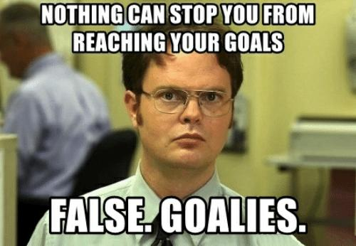 Nothing can stop you from reaching your goals. False. Goalies.