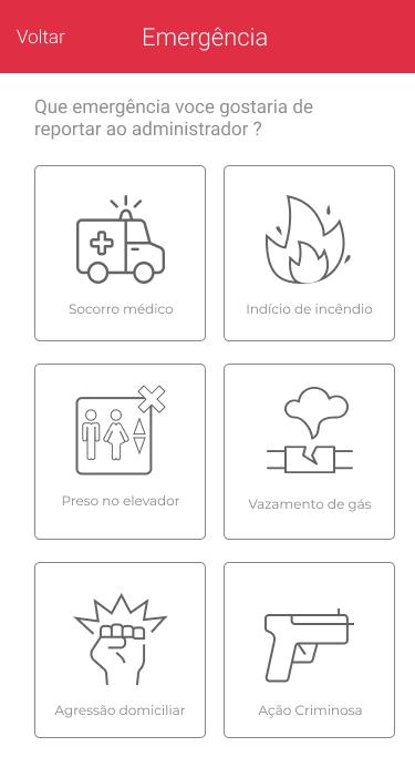 App noknox tela selecione a emergência