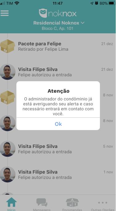 App noknox tela solicitação confirmada