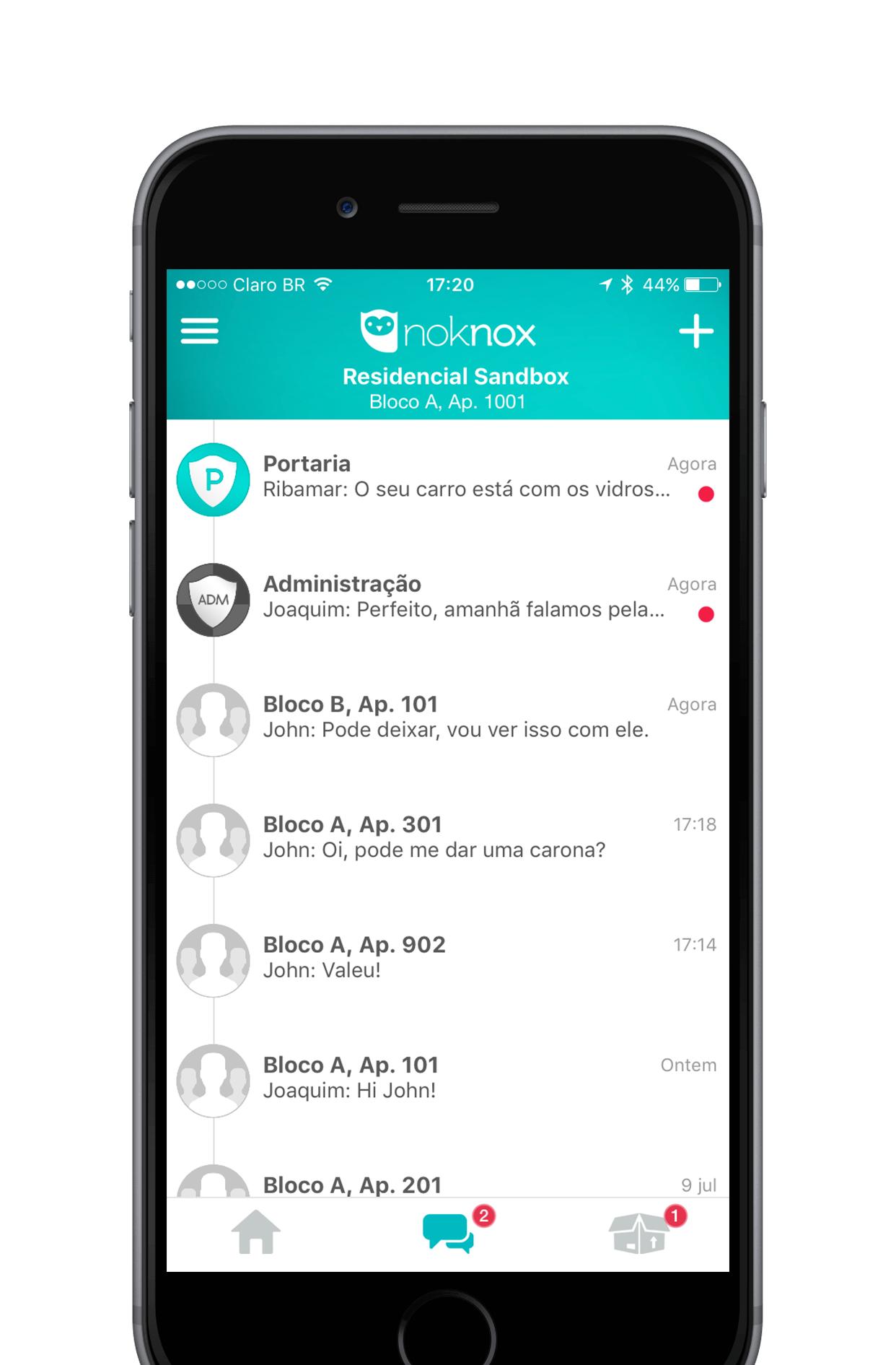 app noknox tela função mensagens