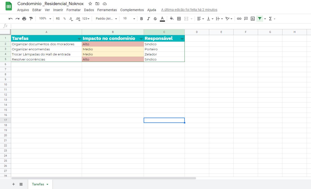 modelo organização de tarefas condomínio
